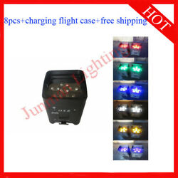618w Rgbwauv 6 In 1 Wireless Ir Battery Power Led Par Light 8pcs With Case