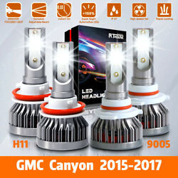 4x LED Headlight Bulbs Kit H11 9005 HighLow Beam Combo For GMC Canyon 2015-2017