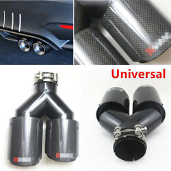 2PCS Carbon Fiber +Steel Exhaust Tip 2.5