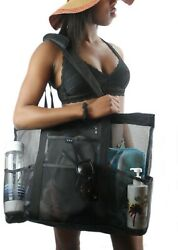 Large Mesh Beach Bag with Zipper amp; Pockets XL Canvas Bottom Tote $16.79