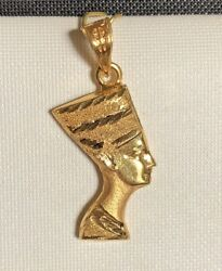 18k Heavy Solid Yellow Gold Mask Of Egyptian Queen Nefertiti Double Sided