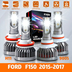 4x LED Headlight Bulbs Kits H11 9005 HighLow Beam Combo For Ford F150 2015-2017