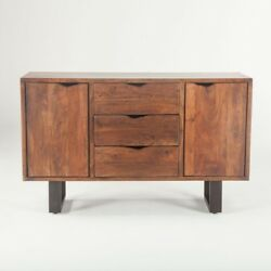 54 L Sideboard Hand Crafted Walnut Rustic Traditional Steel Base
