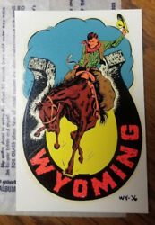 Vintage Travel Decal Wyoming Cowboy Horse Horseshoe Rv Trailer Auto Old Rodeo