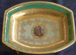 Antique Bohemia Ceramic Oval Vegetable Bowl - 24k Gold Encrusted - Collectible