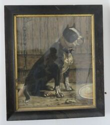 Antique Framed Signed Hand Painting of Boston Terrier Water Color on Paper.