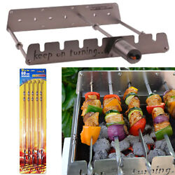 6 Skewer Automatic Rotating Stainless Steel Rack W/ Usb Port For Gas Grills