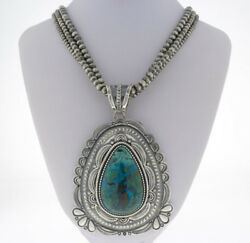 Triple-strand Sterling Silver Bead Necklace With Natural Chrysocolla Pendant