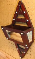 Vintage Folk Art Wooden Wall Hanging Mail Holder From Cigar Boxes And Mirror