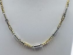 14k Two Tone Gold Mens Handmade Fashion Chain Necklace 28 5 Mm. 54 Grams