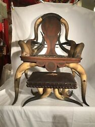 Antique American Steer Horn Arm Chair And Ottoman 1800andrsquos Leather