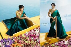 sarees bollywood designer indian blouse fabric zari stone wedding wear sari silk