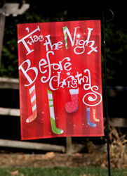 T'was the Night Before Christmas Stockings Mini Garden Flag