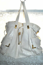 Michael Kors $3900 BEVERLY White Genuine Python Satchel Bag Great Condition