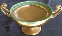 Antique Bohemia Ceramic Footed Center Bowl - 24k Gold Encrusted - Collectible