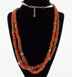 2-strand High Grade Natural Mediterranean Red Coral Bead Necklace