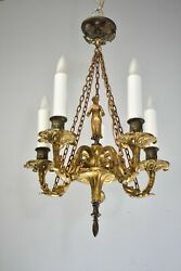 Bronze Small Scale French Five Arm Chandelier Figural Female Detail Center