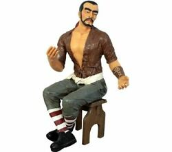 Pirate Sitting Carlos Life Size Statue Resin Decor Does Not Include Stool