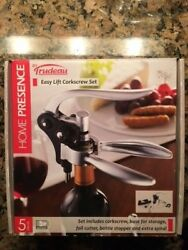 Home Presence By Rudeau Easy Lift Cork Screw 5 Pieces Gift Set - Brand New