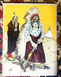 Paul Pletka Chief With Tipi Stone Lithograph Ap H38 X W29 Artists Collection