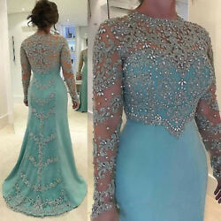 Beads Applique Mother Of The Bride/groom Dress Long Sleeves Elegant Evening Gown