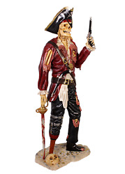 Pirate Skeleton In Red Jacket With Gun And Peg Leg Life Size Statue