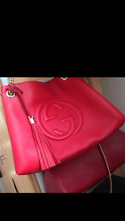 unused Gucci Red Soho TOTE Large Leather Shoulder Hand bag Chain COA