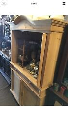 Antique 19th Century Danish Double Door Pine Armoire Stripped Clean Nice For Tv