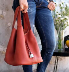 HERMES Picotin 26cm Clemence Rouge red Purse tote crossbody 26 garance grenat