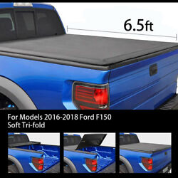 TRI-FOLD SOFT TONNEAU COVER FOR MODEL 16-18 FORD F150 SUPERCREW CAB 6.5' BED