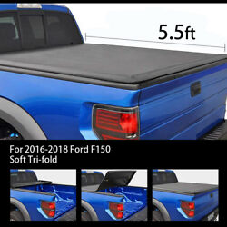 Soft Tri-Fold Tonneau Cover For Models 2016-2018 Ford F-150 5.5'Short Bed