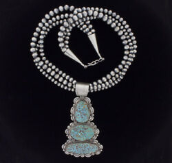 3-strand Silver Bead Necklace With Natural Turquoise Mountain Turquoise Pendant
