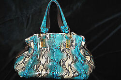 Michael Kors Collection $2995 Turquoise Python Tote Bag Great Condition