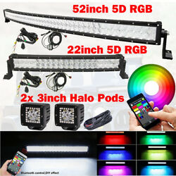 RGB 5D 50Inch Curved LED Light Bar + 22in + 2x 3