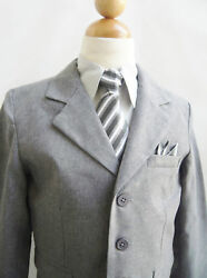Boys Formal suit dark grey silver chambray matching tie set Spring Sale Special