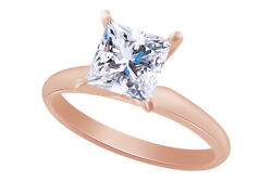 Christmas Special 2 ctw Princess Solitaire Engagement Ring in 14k Rose Gold