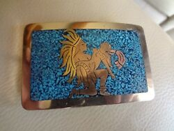 89 Vintage Mexico Sterling Silver Belt Buckle -turquoise Inlay With Picture-old