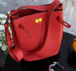 HERMES So Kelly 26cm Rouge red Purse tote crossbody bag Vermillion 26 gold