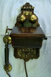 19th Century Ericsson Wood Case Small Wall Telephone Sweden Rare Museum Piece