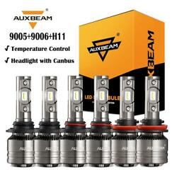 AUXBEAM 9005+9006+H11 LED Headlight Fog Kit Canbus for Honda Civic Accord 06-12