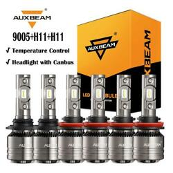 6X AUXBEAM 9005+H11+H11 H8 Canbus LED Headlight Fog Bulb for Honda Accord 08-15