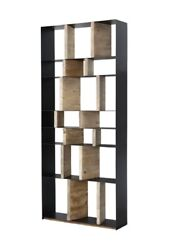 92 T Camilla Bookcase Black Steel Framing Brushed White Reclaimed Pine Wood
