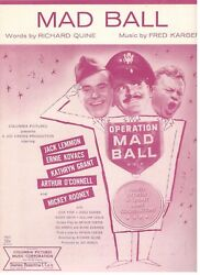 Mad Ball Sheet Music-lemmon/kovacs/grant/rooney-1957-rare-new-mint Condition