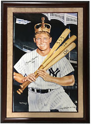 Mickey Mantle signed Wayne Prokopiak remarque litho ins 1956 framed auto COA 35