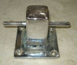 Vintage 1960and039s Chrome Over Brass Post Cleat With Anchor Line Hole