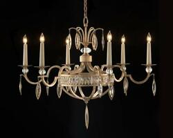 36 Dia. Chandelier Faceted Marquise Crystals Antique Silver Leaf Candelabra