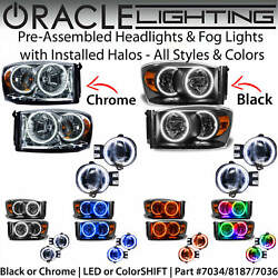 Oracle Halo Headlights And Fog Lights For 07-08 Dodge Ram Pickup Truck All Colors
