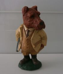 Fabulous Art Deco Novelty Terrier Chalkware Figurine Signed c1900-30 Rare