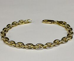 14k Solid Two Tone Gold Handmade Rolo Link Menand039s Chain/bracelet 7 20 Grams 6 Mm