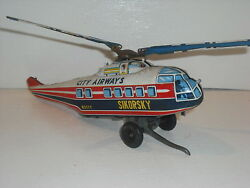 Sy Toys Sikorsky City Airways Helicopter N211y Japanese Tin Plate Original Issue